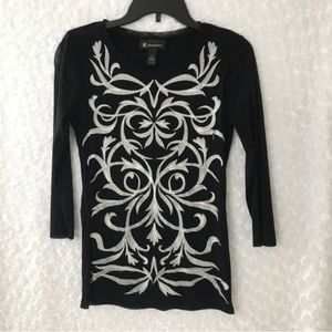INC Womens Embroidery Sheer Long Sleeve Top Blouse